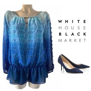White House Black Market Peek A Boo Sleeve  Top